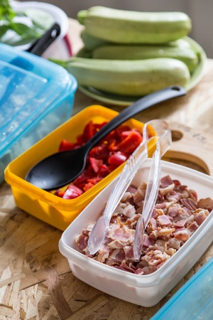 intermediates ingredients in box for cooking food on table Stock Photo