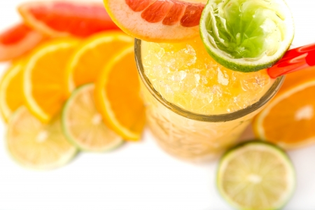 long drink orange coctail with citruses garnish