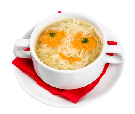 metall and glass: Restourant serving dish for child`s menu - noodles soup with face on white background