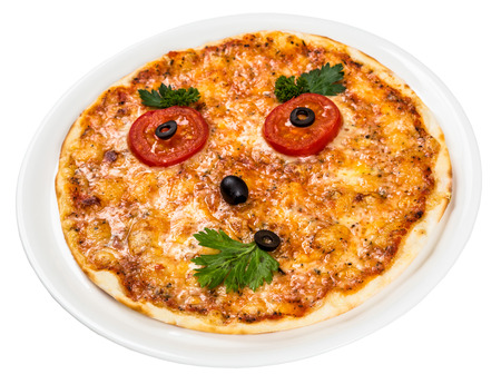 Restourant serving dish for child`s menu - pizza with face photo