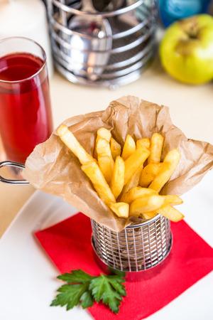 Restourant serving dish for child`s menu - stick potatos roast free photo