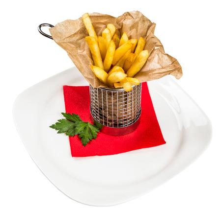 free dish: Restourant serving dish for child`s menu - stick potatos roast free on white background