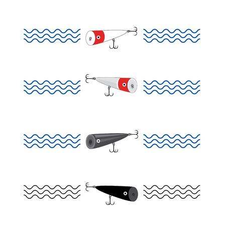wobbler: set bait wobbler popper for fishing in waves