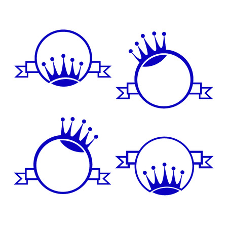 czar: vector set monogram with crown, round, banner for packing Illustration