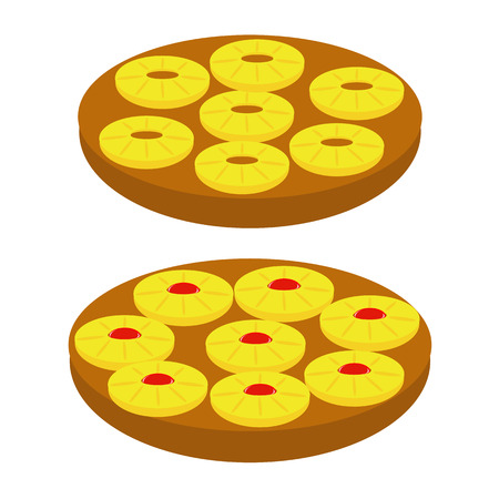 vector silhouette backed Pineapple Upside-down Cake Illustration