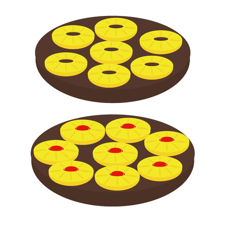 torte: vector silhouette backed Pineapple Upside-down Cake Illustration