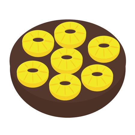torte: vector silhouette backed Pineapple Upside-down Cake Illustration