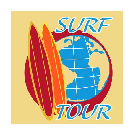 surf board: dise�o del vector que practica surf de viaje con tabla de surf y de la tierra