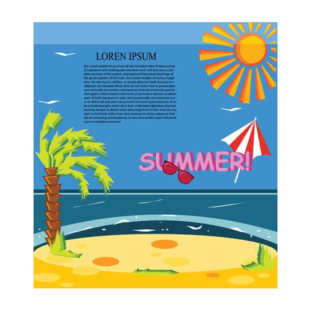birds of paradise: Vector concept summer beach with sand and sea in bright colorfull for background design Illustration