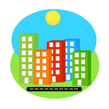 siluet: vecor siluet colorfool buildings with windows on road