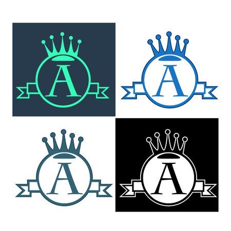 czar: vector set monogram with crown, round, banner and type