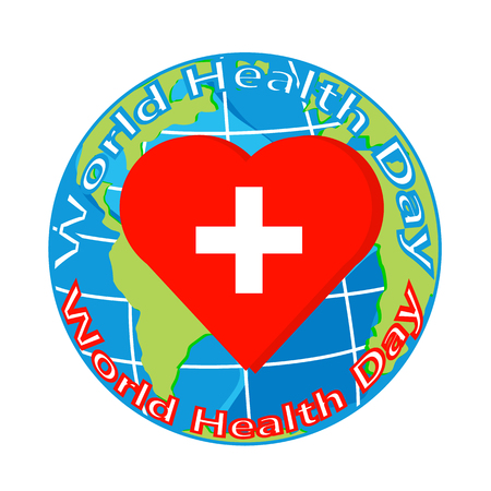 hiv awareness: vector red heart with cross on globe for world health day