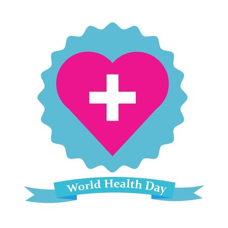 hiv awareness: vector heart with cross on unequal round background above ribbon