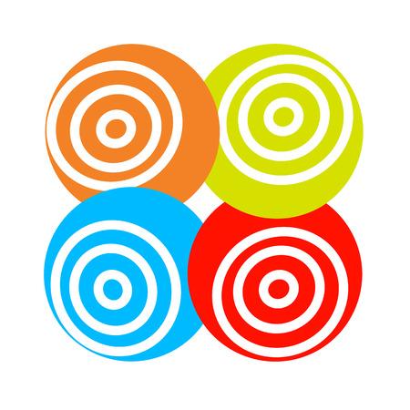 hypnotism: Concepto del vector logo de bola redonda colores hypnosys con el movimiento
