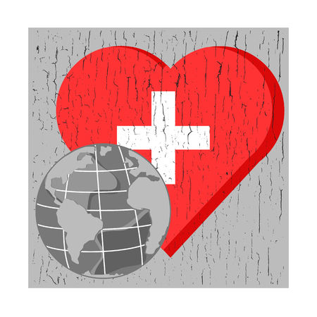 chap: vector globe on red heart with cross on gray chsp background for world health day