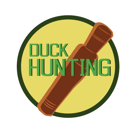 duck hunting: vector design symbol duck call hunting in round