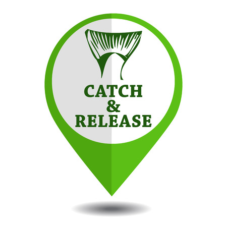 catch: vector emblem fishing catch & release with tail and lettering in marker symbol