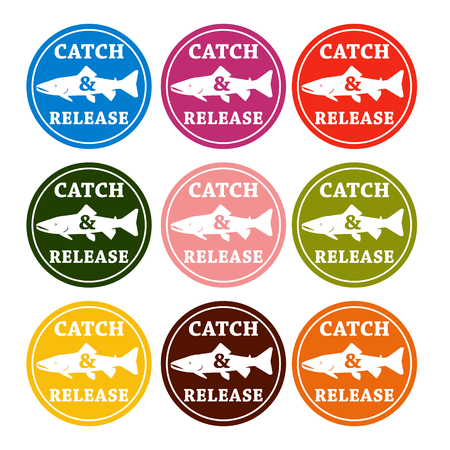 catch: vector set design emblem fishing catch & release with fish and lettering in different colors