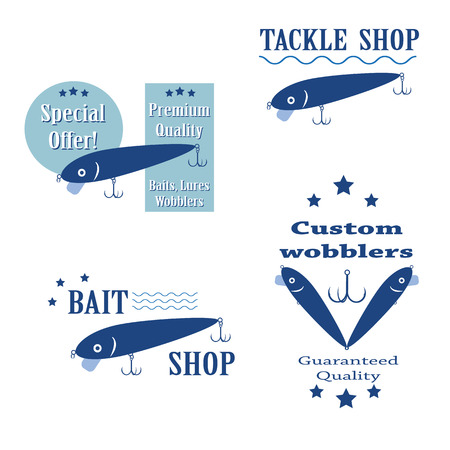 fishing tackle: vector set design concepts bait wobbler for fishing tackle shop