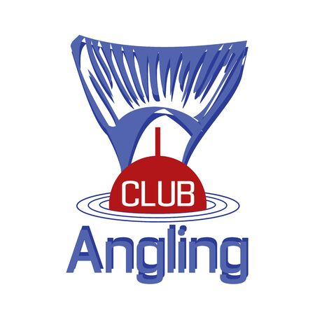angling: vector emblem of fishing with float silhouette and type angling