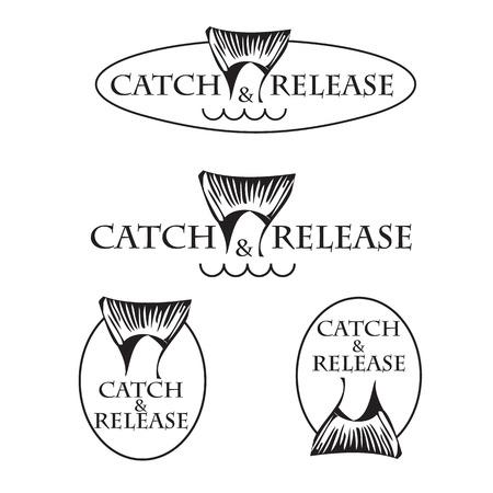 the tail: dise�o del vector del emblema del club de pesca con cola de pez con ronda Vectores