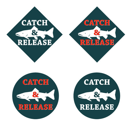 catch: vector set design emblem fishing catch & release with fish and lettering