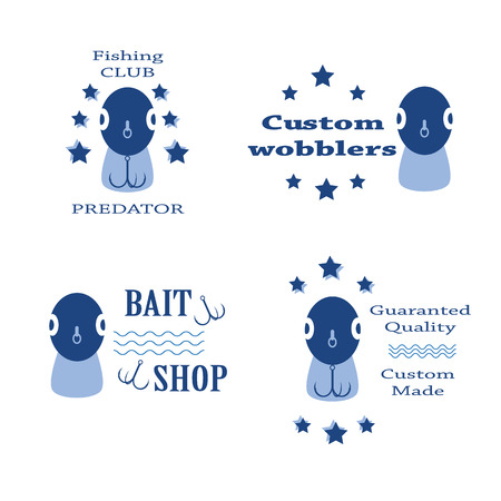fishhook: vector set design concepts with bait wobbler front for fishing tackle shop and club Illustration