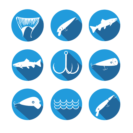 fishhook: vector design set symbols for fishing with baits, tail, fish, hook on round blue background