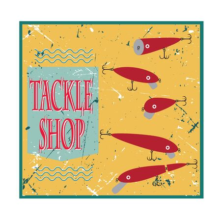 tackle: vector poster with bait wobblers for fishing tackle shop on retro background
