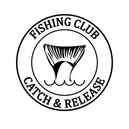fish tail: vector design emblem fishing club with fish tail with round