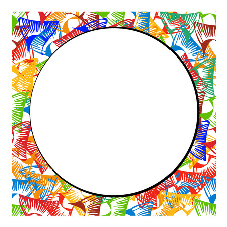vector frame from fish tail different colors around round