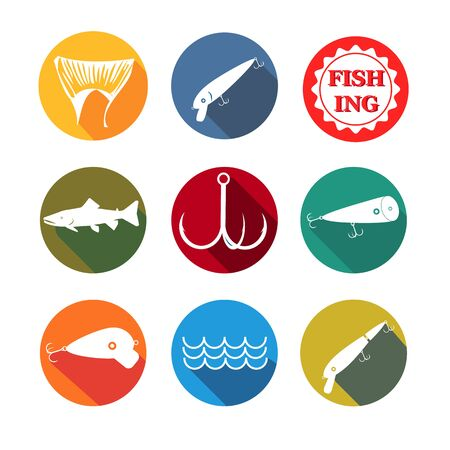 fishhook: vector design set symbols for fishing with baits, tail, fish, hook on round background different colors