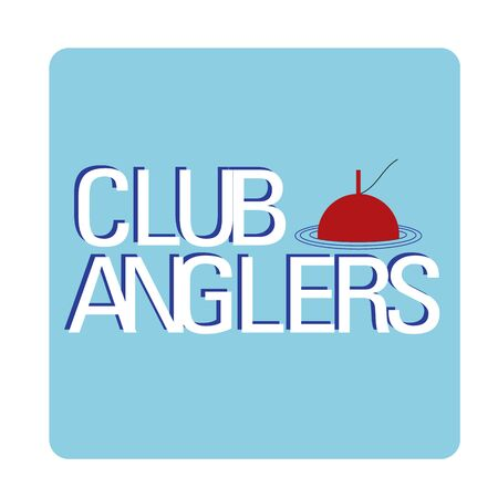 angling: vector emblem of fishing with float silhouette and type club angling