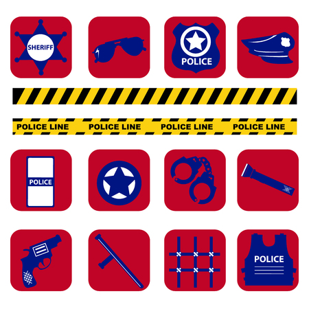 gaol: Vector set design silhouette police symbols in dark blue color Illustration