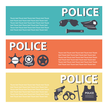 gaol: set police protection staff equipment On flat style banners concept. Vector illustration for template infographic, web and mobile applications Illustration