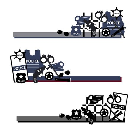 gaol: Vector design concept police symbols in set in dark colors for poster, paper, card