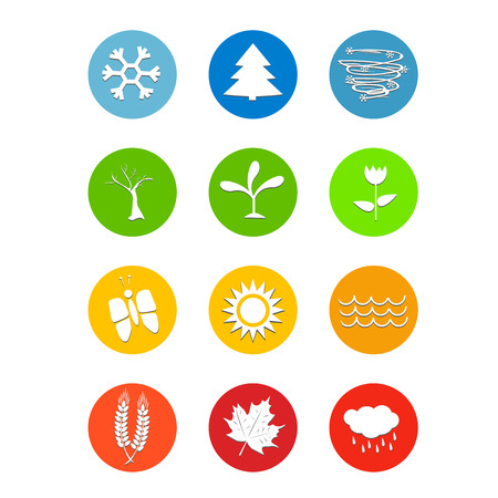 Set of 12 months calendar icons Weather four seasons symbol vector illustration for print, web design Illustration