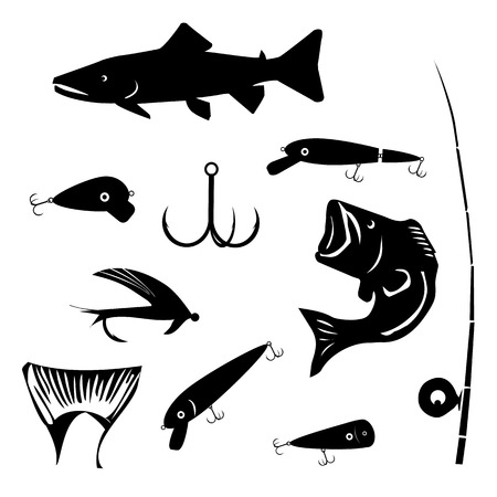 angling: vector set fishing and angling symbols silhouettes in black