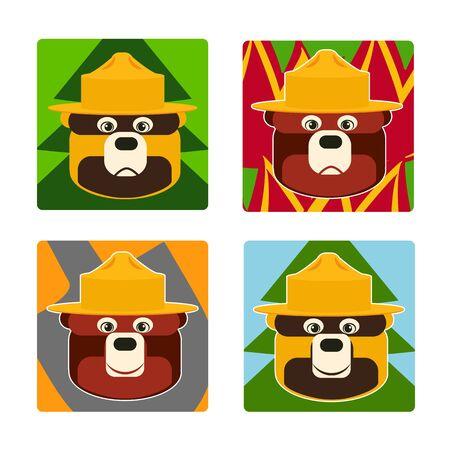set of illustrations of Smoked bear day  イラスト・ベクター素材