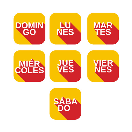 Vector set color square icons with titles of days of the week from Monday to Sunday on  spanish languages