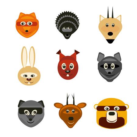 animales del bosque: Ilustraci�n conjunto de animales del bosque