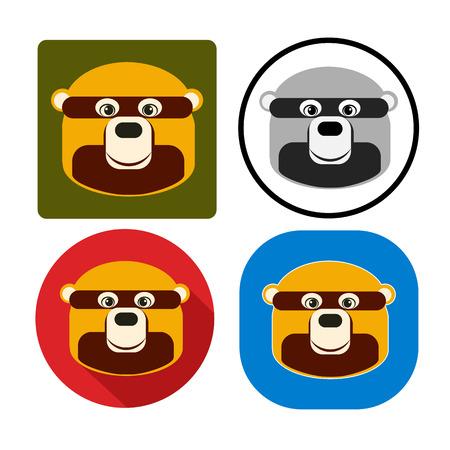 ojos negros: Ilustración conjunto de oso hocico
