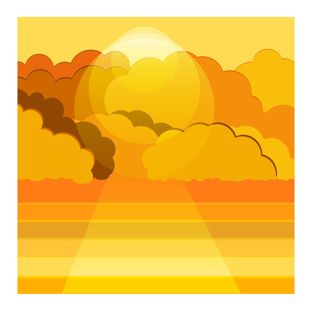 yellow adventure: illustration background of sea and cloud Illustration