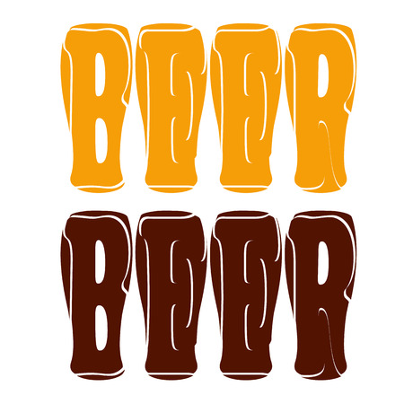 vector concept lettering beer enter in glasses for dark and light beers Illustration