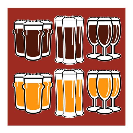 facer: vector set group of three glasses with dark and light beer on red background
