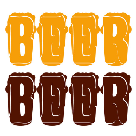 beers: vector concept lettering beer enter in glasses for dark and light beers Illustration
