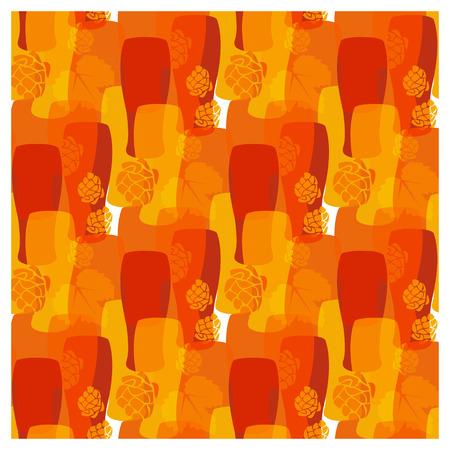 vasos de cerveza: Modelo del vector con vasos de cerveza, lúpulo diferentes colores cálidos de otoño Vectores