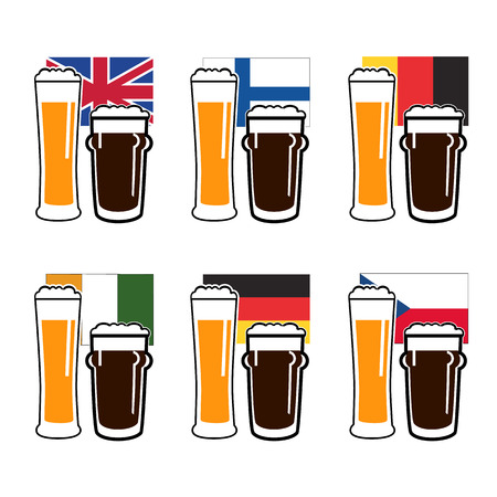 european flags: vector set dark and light beer in glasses on national european flags