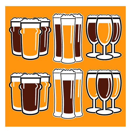 bocal: vector set group of three glasses with dark and light beer on yellow background