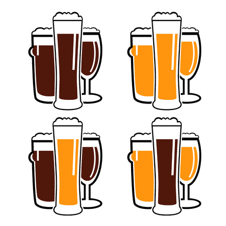 facer: vector set group of three glasses with dark and light beer on white background Illustration